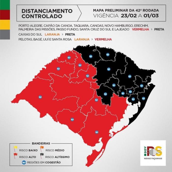 Imagem ilustrativa da notícia: Famurs alerta para recorde de bandeiras pretas e risco alto de transmissão de Covid-19 para a população gaúcha
