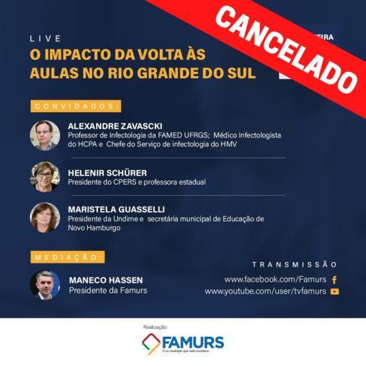 Imagem ilustrativa da notícia: Live sobre impacto da volta às aulas no RS é cancelada