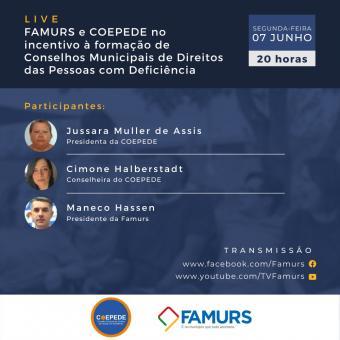 Imagem ilustrativa da notícia: Famurs e Coepede promovem live de incentivo à formação de Conselhos Municipais de Direitos das Pessoas com Deficiência