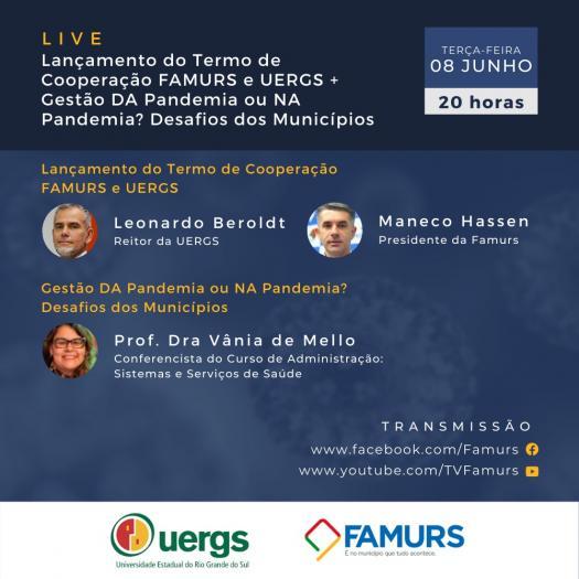 Imagem ilustrativa da notícia: Famurs e Uergs promovem live para abordar gestão dos municípios durante a pandemia