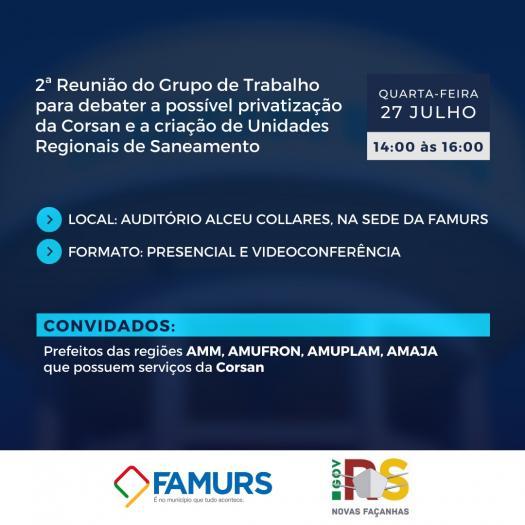 Imagem ilustrativa da notícia: Famurs e Estado realizam segunda reunião do GT Corsan na próxima terça-feira