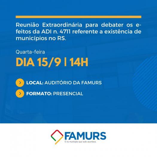 Imagem ilustrativa da notícia: Famurs convoca prefeitos para debater efeitos da ADI 4711
