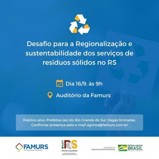 Imagem ilustrativa da notícia: Auditório Alceu Collares recebe seminário sobre regionalização e sustentabilidade dos resíduos sólidos
