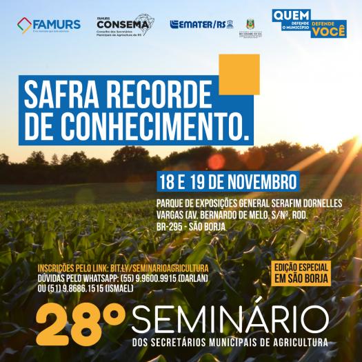 Imagem ilustrativa da notícia: Famurs realiza 28º Seminário dos Secretários Municipais de Agricultura do RS em São Borja